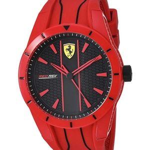 Ferrari Men's Red Rev Quartz Watch with Silicone